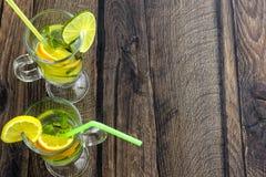 Lemonad med citronen, citronen Meyer, limefrukt och mintkaramellen royaltyfria foton