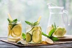 Lemonad med citronen och mintkaramellen Arkivbild
