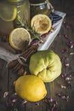 Lemonad med den nya citronen på träbakgrund royaltyfria foton