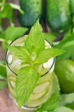 Lemonad med den nya gurkan, limefrukt och mintkaramellen i exponeringsglas royaltyfri foto