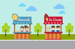 Lemonad- och glassställningar royaltyfri illustrationer