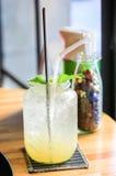 Lemonaddrink av sodavattenvatten Fotografering för Bildbyråer