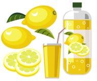 Lemonade. Illustration of lemonade or lemon flavored soda with bottle, cup and straw Stock Photo