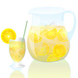 Lemonade. Fresh lemonade with glass and straw Stock Image