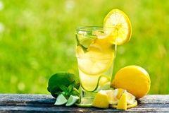 Lemonade. Fresh cold refreshment drink lemonade mint and ice Stock Images
