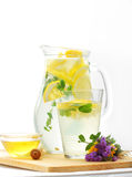 Lemonade. Pitcher and glasses of fresh lemonade on the table Stock Images