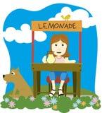 Lemonade. Vector illustration of a girl selling lemonade Stock Photo