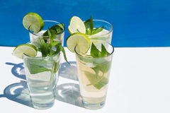 Lemonade against blue background, with mint and lime. Fresh Stock Photos