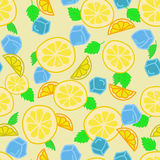 Lemonade background. Seamless background with pieces of lemon, mint leaves and ice cubes vector illustration