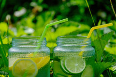 Lemonade in banks Royalty Free Stock Photography