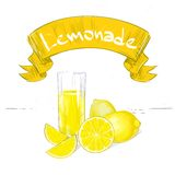 Lemonade banner text sign with glass and yellow Stock Images