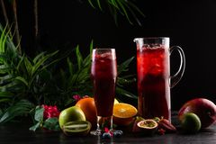 Lemonade blueberry - blackberry in a jug and a glass and fruit royalty free stock photography
