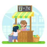 Lemonade booth with happy little cute girl selling young boy first business Vector colorful illustration in flat style image. Eps10 Stock Images