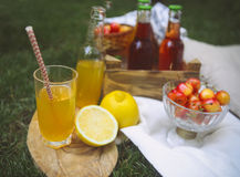 Lemonade with cherry, pear and lemon on the garden picnic Royalty Free Stock Photos