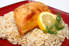 Lemonade Chicken and Brown Rice Royalty Free Stock Photos
