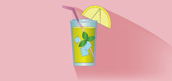 A lemonade cocktail glass with straw, mint and lemon slice design over pink background, flat style Royalty Free Stock Images