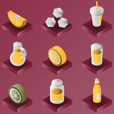 Lemonade color gradient isometric set. Vector illustration, EPS 10 vector illustration