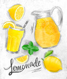 Lemonade elements coal Royalty Free Stock Photos