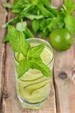Lemonade with fresh cucumber, lime and mint Royalty Free Stock Photography