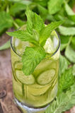 Lemonade with fresh cucumber, lime and mint in glass Royalty Free Stock Photography