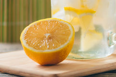 Lemonade with Fresh Lemon. Healthy Food and Drink Concept Stock Photos