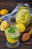 Lemonade with fresh lemon Royalty Free Stock Photos