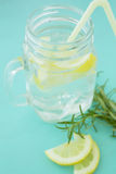 Lemonade. Fresh lemonade served by a jar Stock Photos