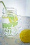 Lemonade. Fresh lemonade served by a jar Stock Image