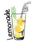 Lemonade fruit label and sticker in watercolor style Royalty Free Stock Image