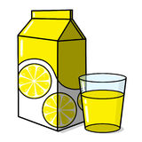 Lemonade and a glass. Lemonade carton and a glass of lemonade illustration; Lemon juice and a cup of lemonade Royalty Free Stock Image