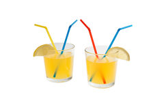 Lemonade in a glass beaker with tubes Stock Photography