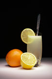 Lemonade in Glass on Black Background Royalty Free Stock Photo