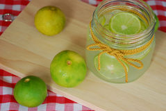 Lemonade in glass container Royalty Free Stock Images