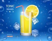 Lemonade glass with ice cubes and fresh lemon royalty free illustration