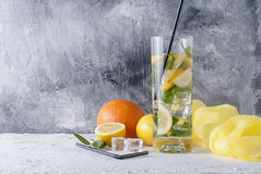 Lemonade in glass with ice and mint. Fresh homemade lemonade in glass with lemon, orange, ice and mint. Ingredients for lemonade Royalty Free Stock Photos