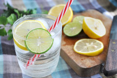Lemonade glass with red straw Royalty Free Stock Photography