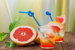 Lemonade with grapefruit. Stock Photos
