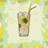 Lemonade homemade classic in glass cup with drinking straw and lemon wedge. Refreshing summer drink vector clip art illustration, stock illustration
