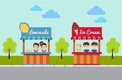 Lemonade And Ice Cream Stands. Vector Illustration Royalty Free Stock Photos
