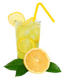 Lemonade with ice cubes and sliced lemon with leaf Stock Images