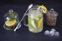 Lemonade with ice in a glass Stock Image