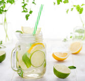 Lemonade with ice, lemon and lime slices in jar, straw. Lemonade with ice, lemon and lime slices in a jar with straw in a white summer wooden background stock photography