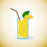 Lemonade with lemon and ice. Stock Photos