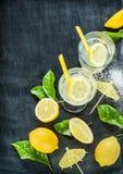Lemonade, lemons, leaves on black chalkboard Stock Images