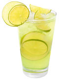 Lemonade with lime and ice cubes. Royalty Free Stock Photo