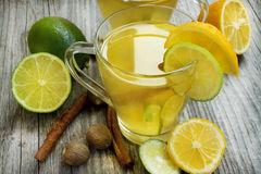Lemonade with lime,mint and cinnamon Stock Images