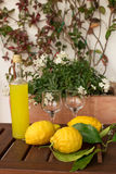 Lemonade or limoncello in a glass bottle, glasses, lemons with leaves on a wooden table, in the background of pots with dows. Stock Image