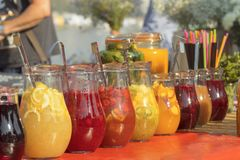 Fresh lemonade in the chilled glass pitchers. Royalty Free Stock Photo