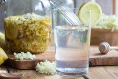 Lemonade made from homemade elder flower syrup stock images