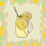 Lemonade in mason jar mug with drinking straw and lemon wedge. Refreshing summer drink vector clip art illustration stock illustration
